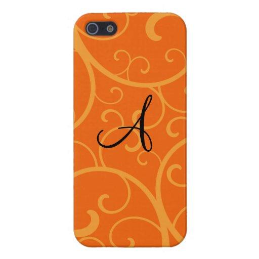 Monogram orange swirls iPhone 5 cover