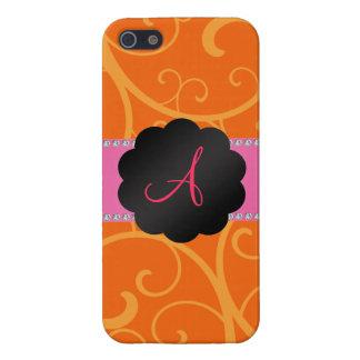 Monogram orange swirls iPhone 5 case