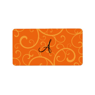 Monogram orange swirls personalized address label