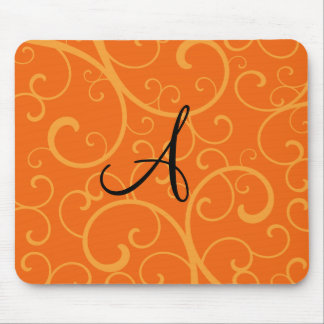 Monogram orange swirls mouse pad