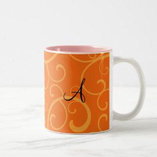 Monogram orange swirls mugs
