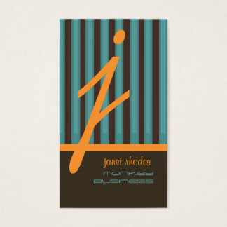Monogram orange/teal/chocolate stripes business card