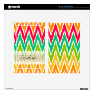 Monogram Orange Teal Ikat Chevron Zig Zag Pattern Skin For Kindle Fire