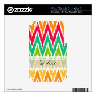 Monogram Orange Teal Ikat Chevron Zig Zag Pattern Skins For iPod Touch 4G
