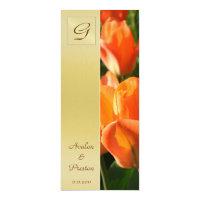 Monogram Orange Tulip  Wedding Program Invitation
