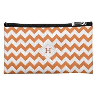 Monogram: Orange, White Chevron Pattern Bag Makeup Bag