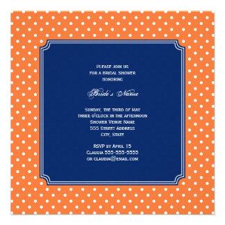Monogram Orange White Polka Dot with Royal Blue Custom Announcements
