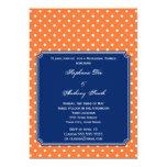 "Monogram Orange, White Polka Dot with Royal Blue 5"" X 7"" Invitation Card"