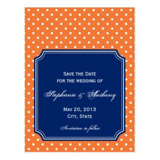 Monogram Orange, White Polka Dot with Royal Blue Postcard