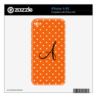 Monogram orange white polka dots decals for the iPhone 4S