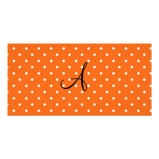 Monogram orange white polka dots personalized photo card