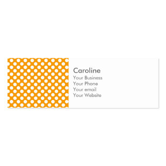Monogram Orange White Trendy Fun Polka Dot Pattern Double-Sided Mini Business Cards (Pack Of 20)