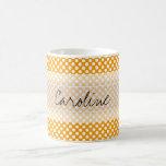 Monogram Orange White Trendy Fun Polka Dot Pattern Coffee Mug