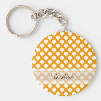 Monogram Orange White Trendy Fun Polka Dot Pattern Keychain