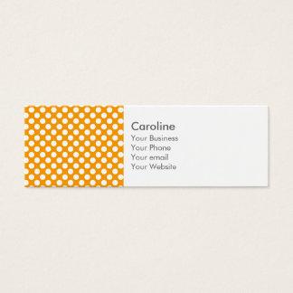 Monogram Orange White Trendy Fun Polka Dot Pattern Mini Business Card