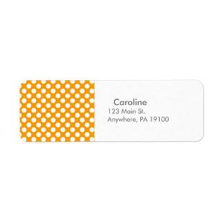 Monogram Orange White Trendy Fun Polka Dot Pattern Return Address Label