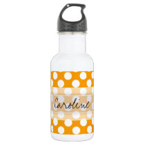 Monogram Orange White Trendy Fun Polka Dot Pattern Stainless Steel Water Bottle