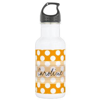 Monogram Orange White Trendy Fun Polka Dot Pattern Stainless Steel Water Bottle
