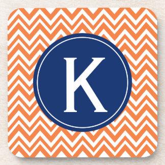 Monogram Orange Zigzag Pattern Beverage Coasters