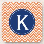 Monogram Orange Zigzag Pattern Drink Coasters
