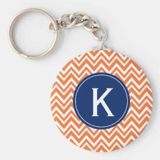 Monogram Orange Zigzag Pattern Keychain