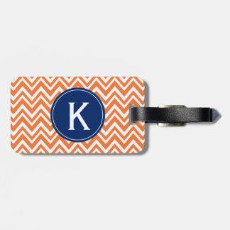 Monogram Orange Zigzag Pattern Travel Bag Tag