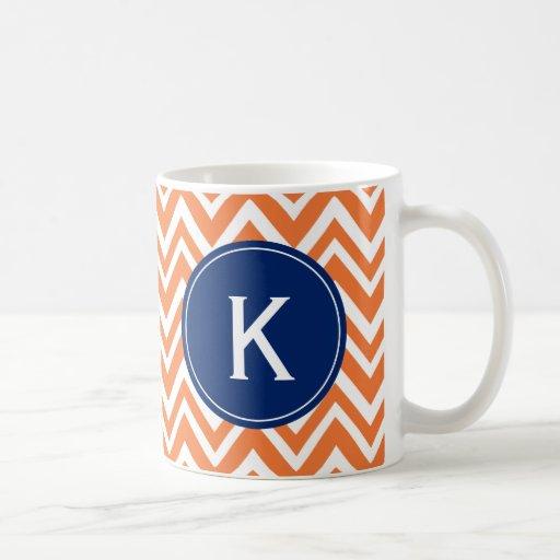 Monogram Orange Zigzag Pattern Mugs