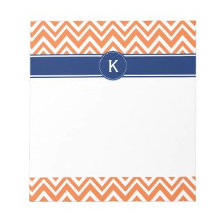 Monogram Orange Zigzag Pattern Notepad