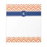 Monogram Orange Zigzag Pattern Scratch Pad