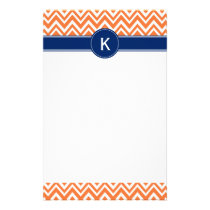 Monogram Orange Zigzag Pattern Stationery