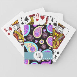 Monogram - Oriental Iranian Paisley - Blue Purple Poker Cards