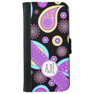Monogram - Oriental Iranian Paisley - Blue Purple Wallet Phone Case For iPhone 6/6s