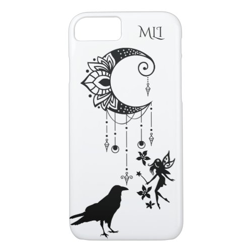 Monogram Ornate Crescent Moon Fairy and Crow iPhone 87 Case