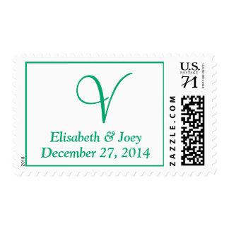 Monogram Oversize Weddings  Jade Postage Stamps