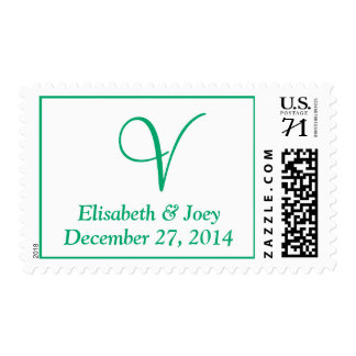 Monogram Oversize Weddings  Jade Postage Stamps