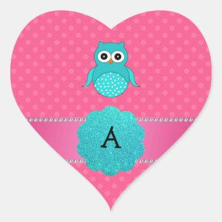 Monogram owl pink polka dots heart stickers