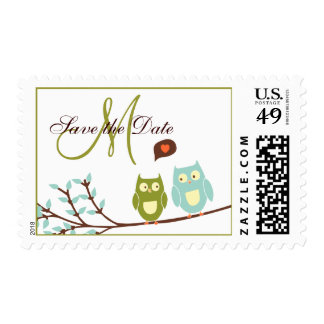 Monogram Owls Save the Date Postage Stamps