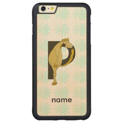 Monogram P Flexible Horse Personalised Carved® Maple iPhone 6 Plus Bumper Case