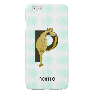 Monogram P Flexible Horse Personalised Glossy iPhone 6 Case