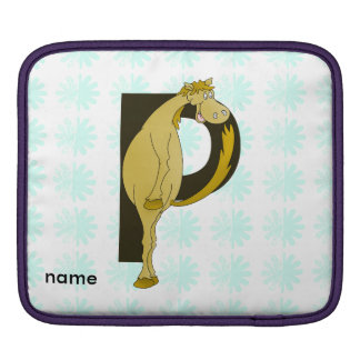 Monogram P Funny Pony Personalized iPad Sleeve