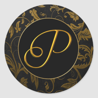 Monogram P Gold and Black Damask Wedding Seal Classic Round Sticker