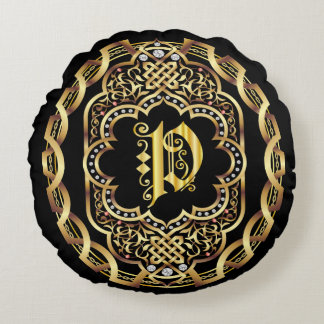 Monogram P IMPORTANT Read About Design Round Pillow