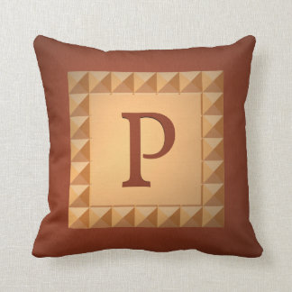 Monogram P: Marquetry Effect Initial and Pattern Throw Pillows