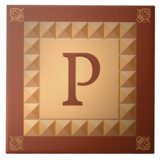 Monogram P: Marquetry Effect Initial and Pattern Tiles