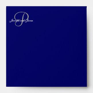 Monogram P Navy Save the Date Envelopes