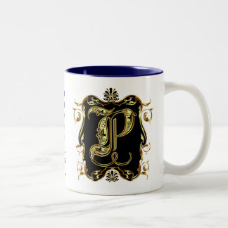 Monogram P One of a kind View notes please Two-Tone Coffee Mug