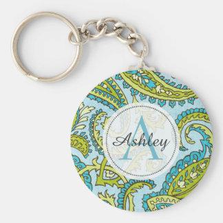 Monogram Paisley Colorful Aqua Boho Trendy Chic Keychain