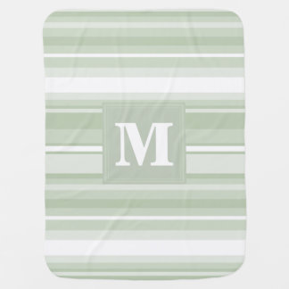 Monogram pale green stripes baby blanket