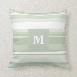 Monogram pale green stripes pillow
