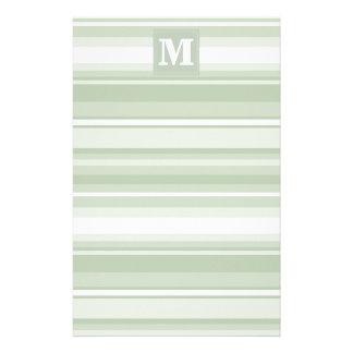 Monogram pale green stripes stationery